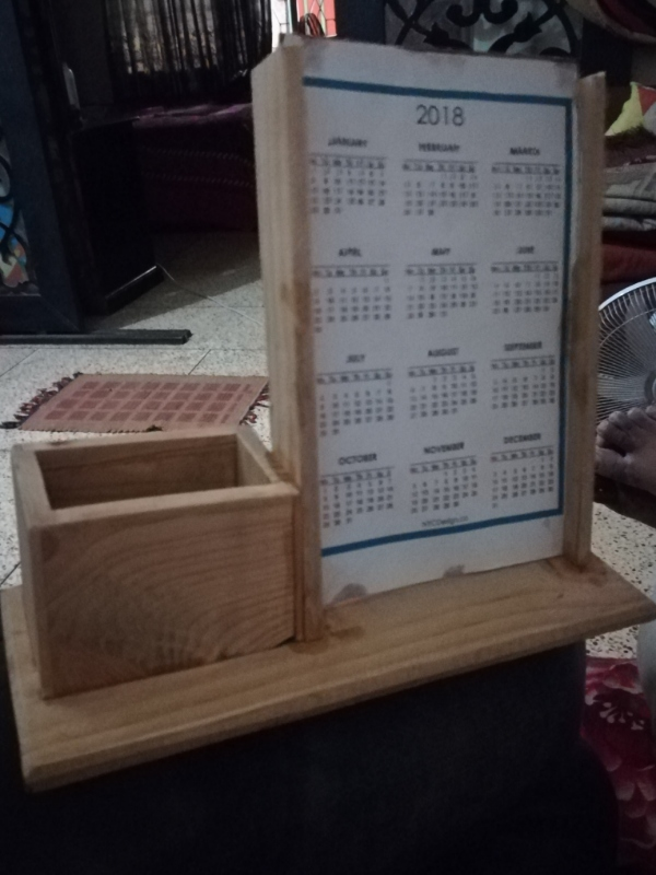 Desk calender with card holder