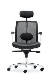 Leather Seat High Back Mesh Chair