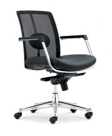 Soft pvc seat & mesh back revolving chair ,chrome base